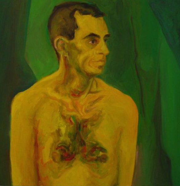 Man's portrait study using non-naturalistic colors. Pure yellow figure with greenish, ruddy and yellowish shades. Visible brushstrokes and lines, pure forms, green all-over background.