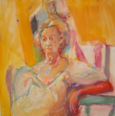 Saturated oil portrait of an old woman sitting, vivid colors, yellow hue, pastel lines, non naturalistic palette, square canvas