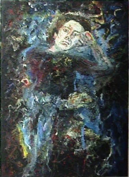 Portrait of a man sitting, oil on canvas, traditional painting using oil paint and brush, visible brushstrokes, deformed background, expressionism.