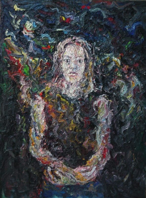 Vertical original painting portraying a woman in an expressionistic manner. Black abstract background with raw brushstrokes invading the theme (portrait).