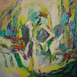 Large square abstract painting (100 x 100 cm) roughly showing a sitting man with his elbows on his knees. Vivid colors (yellow green purple white), brushstrokes, pastel lines.