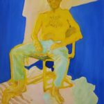 Nenet Vlachaki, Man in pants, oil on canvas, sitting jeans chair blue yellow stripes