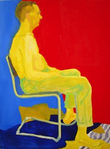 A figure of a man sitting on a chair is painted using non-naturalistic colors. Three shapes of primary colors compose the overall scene: the yellow figure, the red background and the blue floor and part of the background.