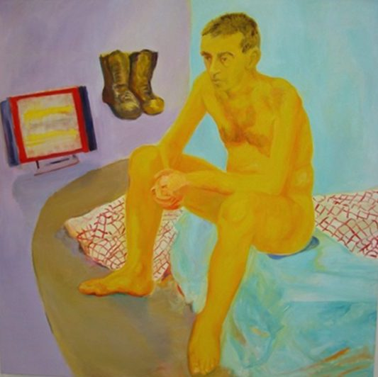 The painting/study foregrounds the bold yellow body of the model sitting loosely. Several objects associated with the posing (boots, stove, draped fabrics) are incorporated in the composition. The perspective is distorted, bouncing between real and imaginary life. Anti-painting colors are used for the stylized body while the background is colored in pale flat pastels.