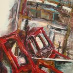 Original painting by the artist Nenet Vlachaki. Vertical painting depicting red chairs reflecting on a mirror. Visible brushstrokes and intense colors.