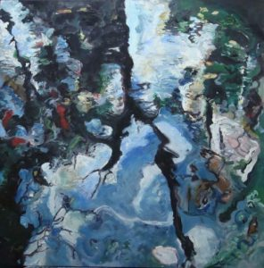 Impressionistic capture of reflections on water. The shadow of the black trees is the only element that holds everything together before abstraction. Soft, wispy brushstrokes, trees and clouds, plants and koi fish.