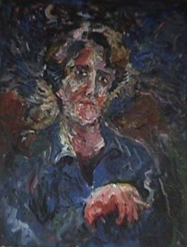 The figure of a woman surfaces from a dark background, her face is ruddy in the shadows of the night, she wears a blue shirt and holds a lit cigarette.